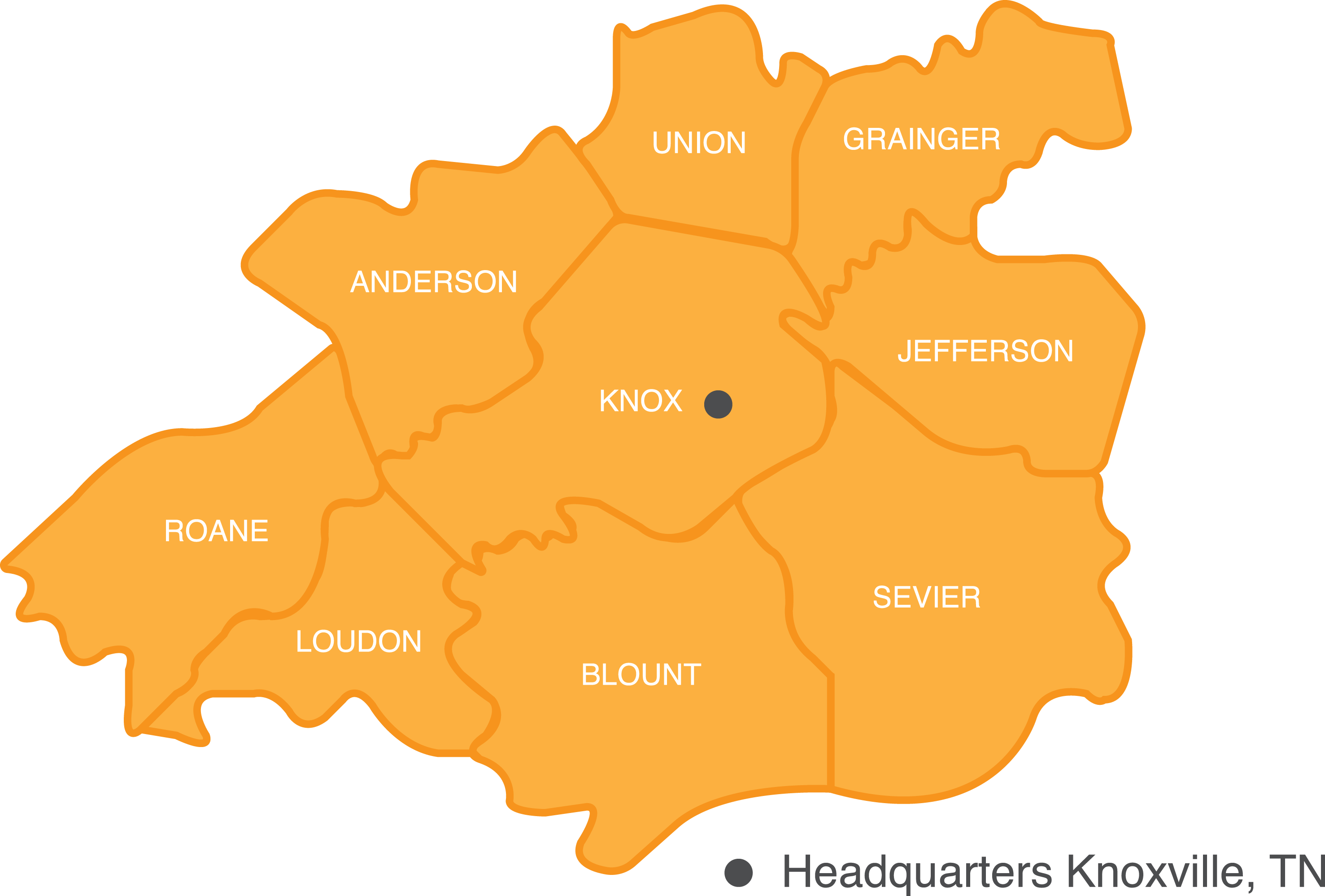Knox county & surrounding counties map
