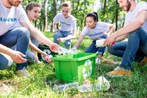 Volunteers recycling