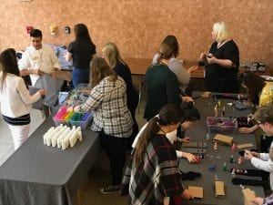 Volunteers setting up crafts