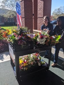 Volunteers with Cart of Flowers
